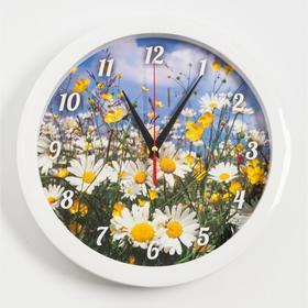 """Часы настенные, серия: Природа, """"Ромашки"""", плавный ход, d=28 см"""