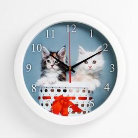 """Часы настенные, серия: Животный мир, """"Котята"""", плавный ход, d=28 см"""