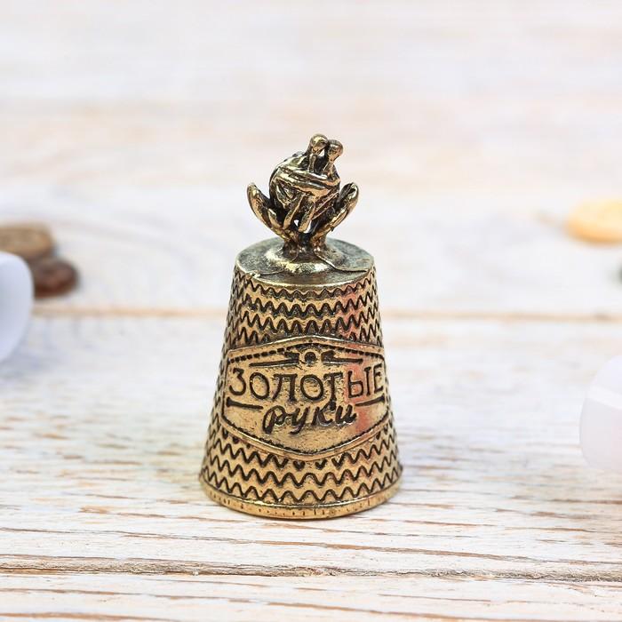 """Подарочный наперсток """"Золотые ручки"""" (латунь), 2,1 х 2,1 х 4 см"""