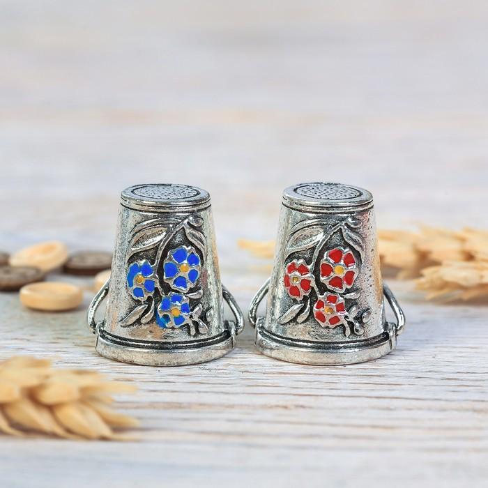 Напёрсток «Вёдра с коромыслами», под серебро, 2 шт