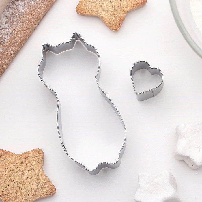 """Набор форм для вырезания печенья """"Кошечка"""", 2 шт"""