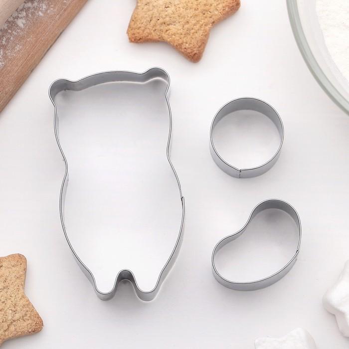 """Набор форм для вырезания печенья """"Собака"""", 3 шт - фото 308034546"""