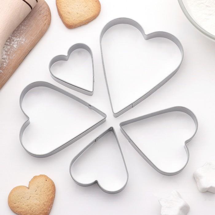 """Набор форм для вырезания печенья """"Сердце"""", 5 шт - фото 169769398"""