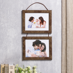 Photo frame 2 photos 15x20 cm pendant 726 dark walnut