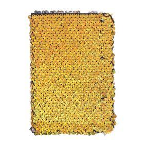 Записная книжка подарочная формат А6, 80 листов, линия, Пайетки двухцветные золотисто-серебристые129