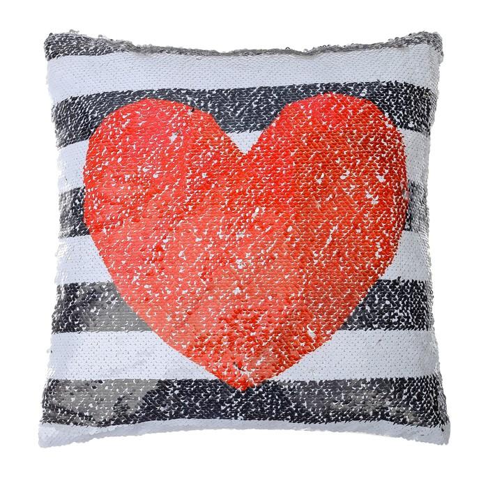 Наволочка Этель «Сердце», 40 × 40 см, декоративная, с пайетками, велюр, п/э 100 %