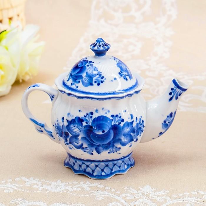 """Чайник """"Зима"""", гжель, фарфор, 15х10,5 см, 550 мл"""