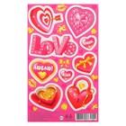 """Наклейки """"Love"""" сердечки, розовый фон"""