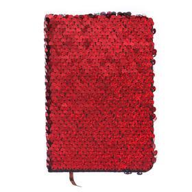 Записная книжка подарочная формат А6, 80 листов, линия, Пайетки двухцветные красно-серебристые