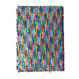 Записная книжка подарочная формат А5, 80 листов, линия, Пайетки двухцветные разноцвет-серебро