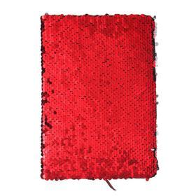 Записная книжка подарочная формат А5, 80 листов, линия, Пайетки двухцветные красно-серебристые