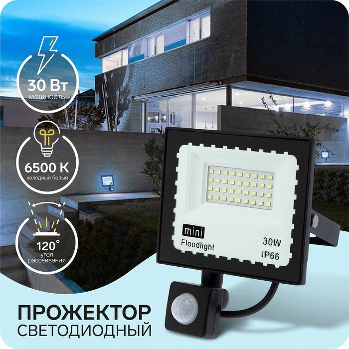 Прожектор светодиодный Luazon СДО08-30, 30 Вт,Датчик движения,IP65, 2900 Лм, 6500К, 180-240В
