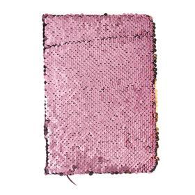Записная книжка подарочная формат А5, 80 листов, линия, Пайетки двухцветные розово-золотистые