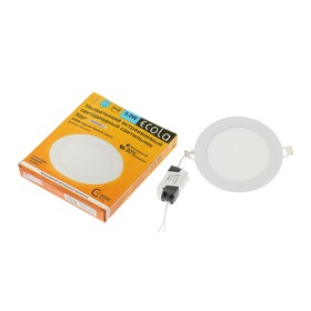 Panel LED built-in with the Ecola driver, Circle, 9 W, 220 V, 6500 K, 145x20