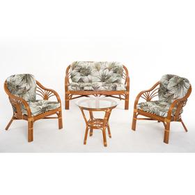Набор мебели, 4 предмета: диван, два кресла, стол, с подушкой, натуральный ротанг, цвет коньячный, 01/91