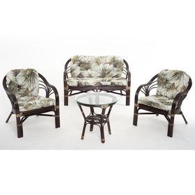 Набор мебели, 4 предмета: диван, два кресла, стол, с подушкой, натуральный ротанг, цвет тёмно-коньячный, 01/91