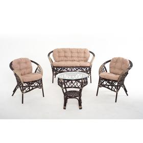 Набор мебели, 4 предмета: диван, два кресла, стол, с подушкой, натуральный ротанг, цвет темно-коньячный, 01/92