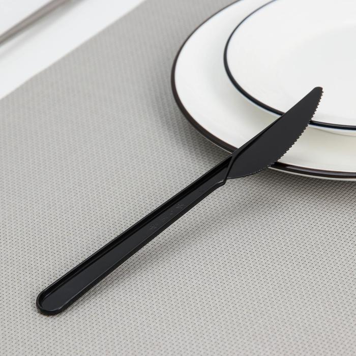 """Нож 18 см """"Премиум"""", цвет чёрный, 50/2500 уп."""