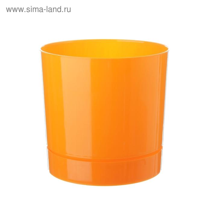 Горшок 3,6 л для цветов d=18,6 см с поддоном, цвет оранжевый