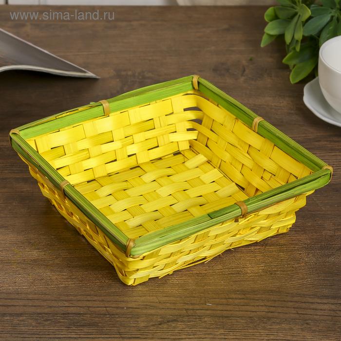 "Корзинка из бамбука ""Цветные квадраты"" 7х19х19 см МИКС"
