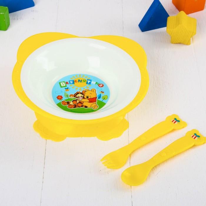 """Посуда детская """"Медвежонок Винни и его друзья"""" тарелка 250 мл, вилка, ложка"""