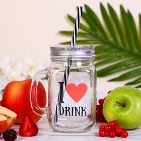 """Банка для напитков с трубочкой """"LOVE DRINK"""""""