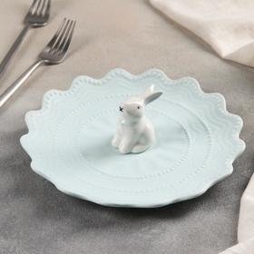 Тарелка десертная «Кружева Кролик», 21 см, цвет голубой