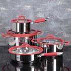 Набор посуды MCFR, 4 предмета: ковш 1,8 л; кастрюля 2,8 л, сковорда d=25 см, кастрюля 5,6 л - фото 926080
