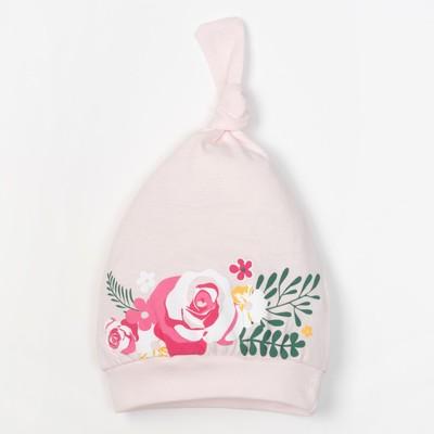 """Чепчик (шапочка) Крошка Я """"Маленький цветочек"""" размер 40, розовый"""