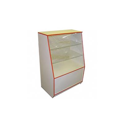 Витрина 900*550*1300, 2 стеклянные полки, цвет белый с красной кромкой