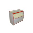 Прилавок 900х550х900, стеклянная полка, белый с красной кромкой