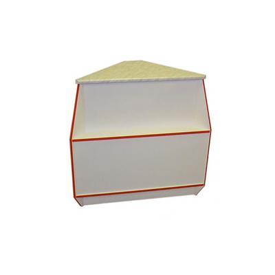 Прилавок угловой наружный, постформинг, 550, белый с красной кромкой