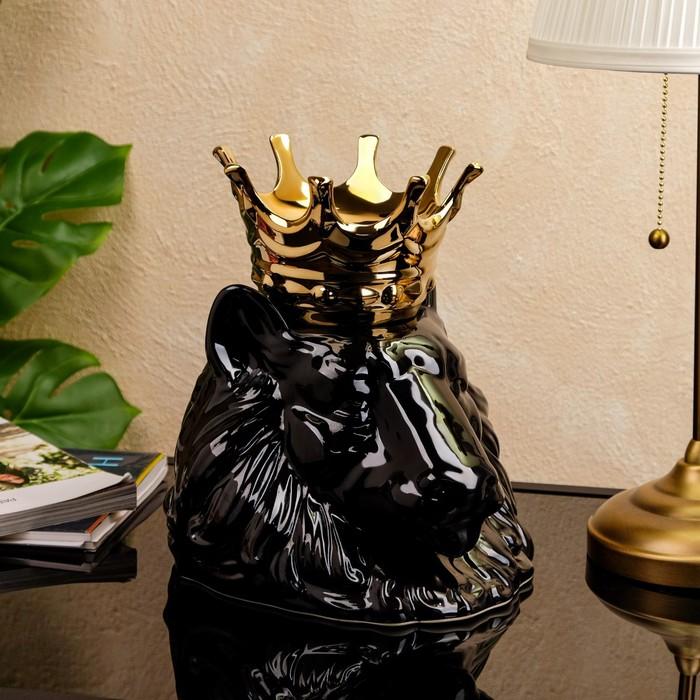 """Ваза настольная """"Голова льва с короной"""" чёрный, 1 сорт"""