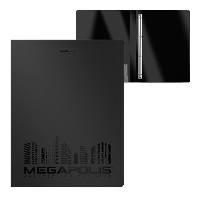 Папка на 4 кольцах А4, 24мм Erich Krause Megapolis, черная, пластиковая