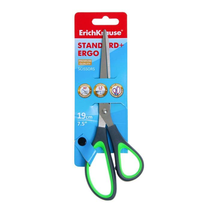 Ножницы 19 см Standard+ Ergo, лезвия с улучшенной двойной заточко, ручки эргономичной формы из ударопрочного пластика с противоскользящими резиновыми вставками, микс, блистер