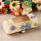 """Шкатулка соломка с окошком """"Синие цветы"""" 5х11х5 см"""