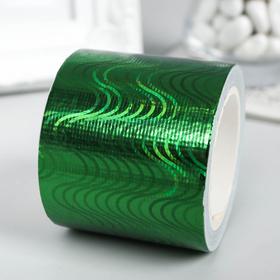 """Клейкая лента пластик """"Голографический рисунок - зелёный"""" ширина 4,8 см намотка 5 метров"""