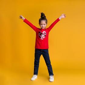 Джемпер для девочки MINAKU «Сердечко», рост 134-140 см, цвет красный