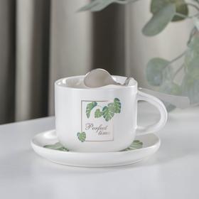 Набор чайный «Ботаника», 3 предмета: чашка 220 мл, блюдце, ложка, цвет МИКС