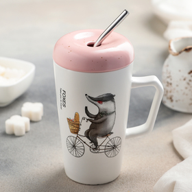"""Mug 500 ml """"Jolly summer"""", with lid and straw, figure MIX"""