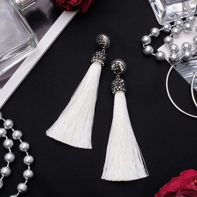 "Earrings assorted ""Brush"" the universe, color white, brush L 6 cm"