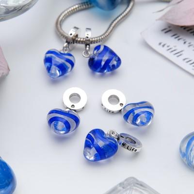 """Подвеска """"Сердце"""", цвет синий в серебре"""
