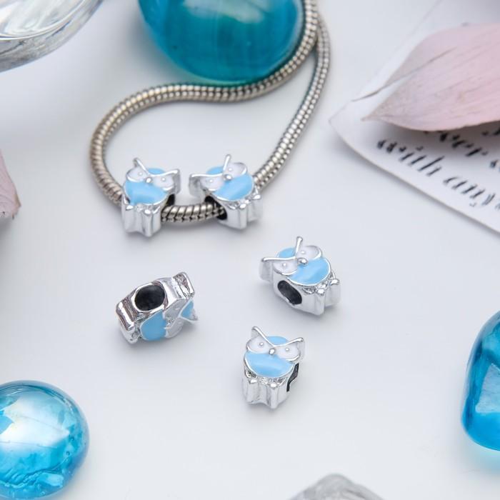 "Талисман ""Сова"", цвет бело-голубой в серебре"