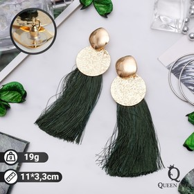 "Earrings assorted ""Brushes"" Hindi, green gold, L of the brush is 6.5 cm"