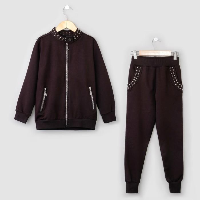 """Костюм  для девочки (толстовка, брюки) MINAKU """"Fashion"""", рост 140 см, цвет черный"""