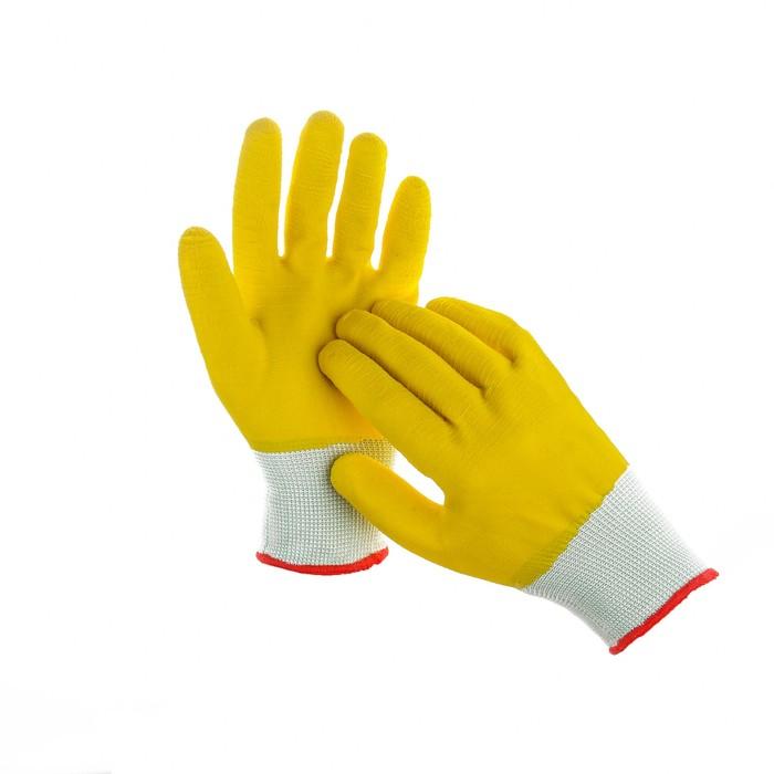 Перчатки нейлоновые, с латексным полуобливом, размер 9, жёлтые
