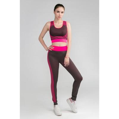 Женский костюм топ+легинсы, р. 42-44, цв. розовый, 88% полиамид, 12% эластан