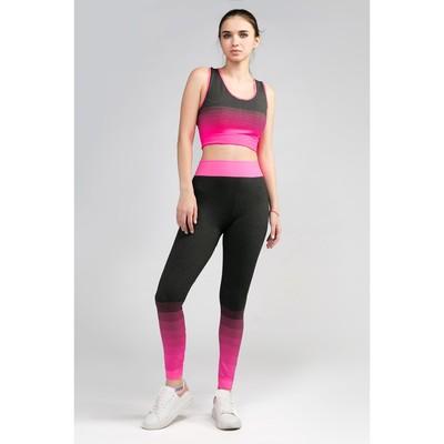Женский костюм топ+легинсы, р. 42-44, цв. розовый градиент, 88% полиамид, 12% эластан