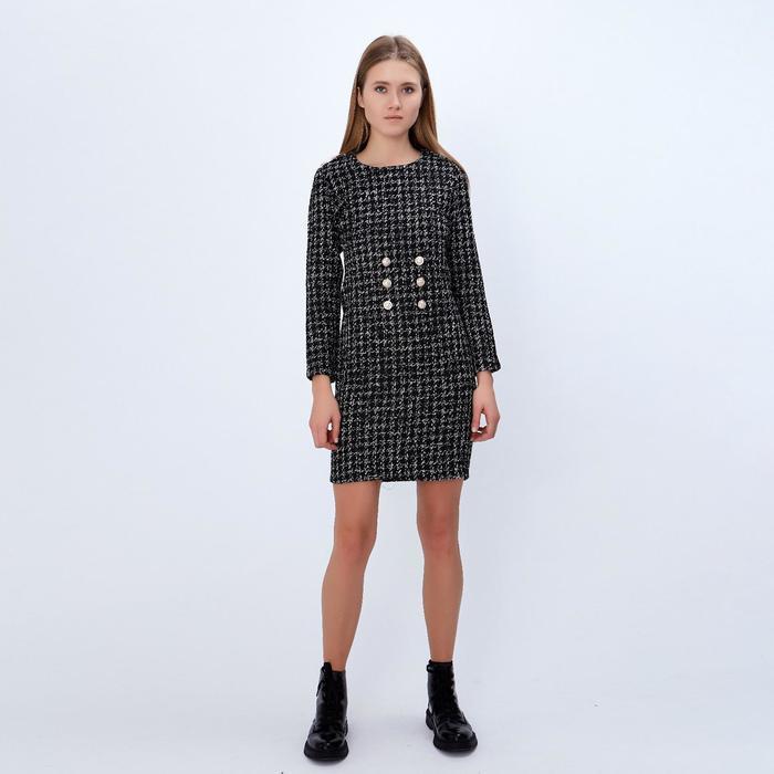 """Платье женское MINAKU """"Букле"""", размер L, цвет чёрный/белый - фото 728568298"""