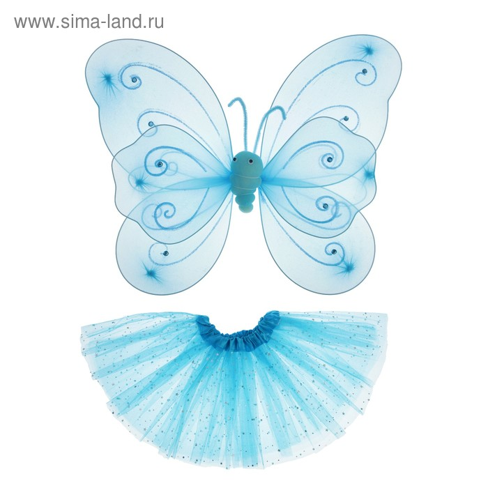 Carnival set Butterfly wings, skirt, double-layered, 4-6 years, color blue